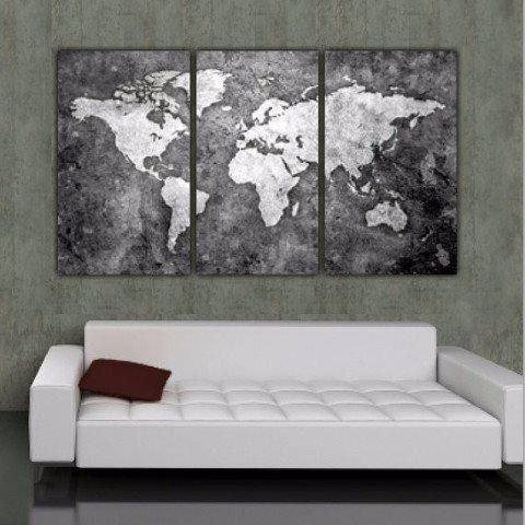 "LARGE Three panel, Black & White World Map on Gallery Wrapped Canvas makes a beautiful statement on any home or office wall. Features names of countries and bodies of water, great for .. Set measures 64"" x 36"" x 1.5"" depth when hung with 2"" spacing between panels (Each panel is 20"" wide x 36"" tall x 1.5"" deep). Set not only makes a great art piece but provides a family geography education as well. Prints are professionally gallery wrapped at my Holy Cow Canvas studio - no additional frami..."