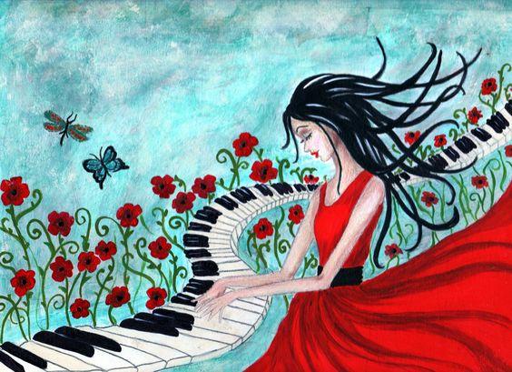 Piano Girl - Art by Kim Wilkowich