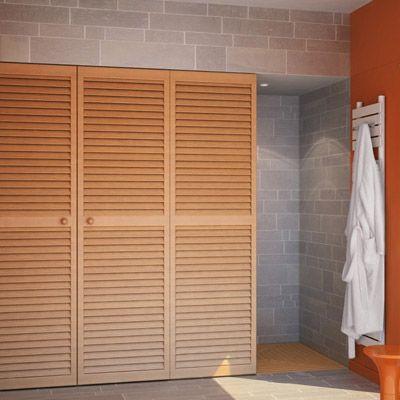 une salle de bains dans 7m2 des volets d tourn s en portes cachent avec l gance la buanderie. Black Bedroom Furniture Sets. Home Design Ideas