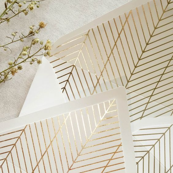 Geometric, modern envelope liners in gold foil 😍