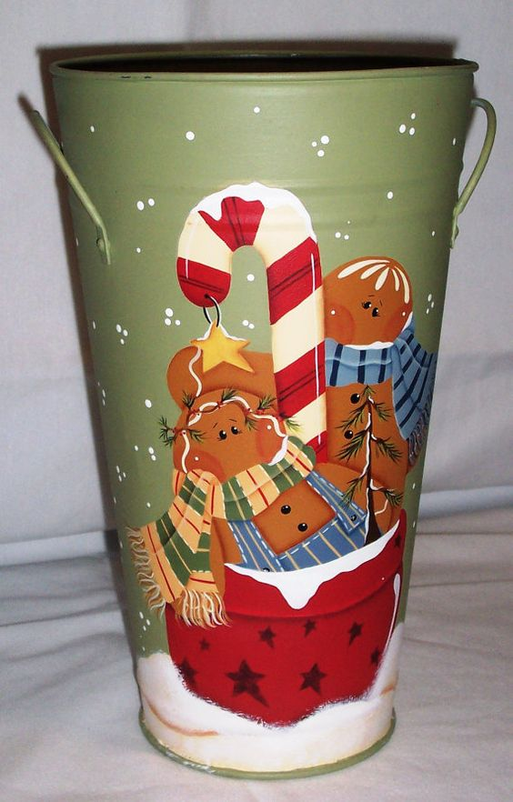 Gingerbread tin vase holiday decor christmas all about for Decorating tins for christmas