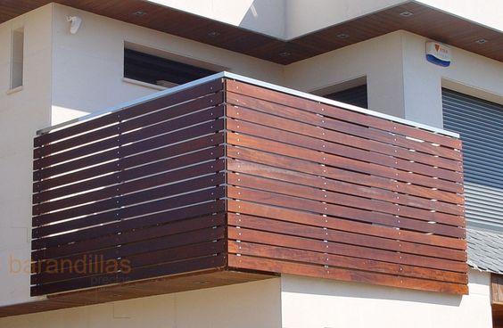 Barandilla en madera listones de iroko de 100x10 anclados - Barandillas madera exterior ...