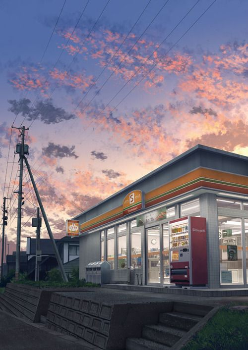 grafika anime scenery and convenience store