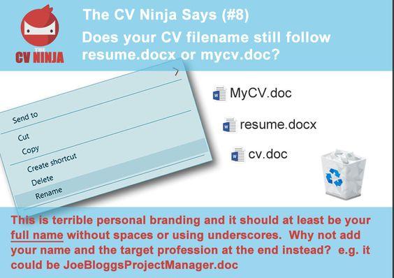 The CV Ninja says #2 Donu0027t ever lie in your CV   Resume   - filename for resume