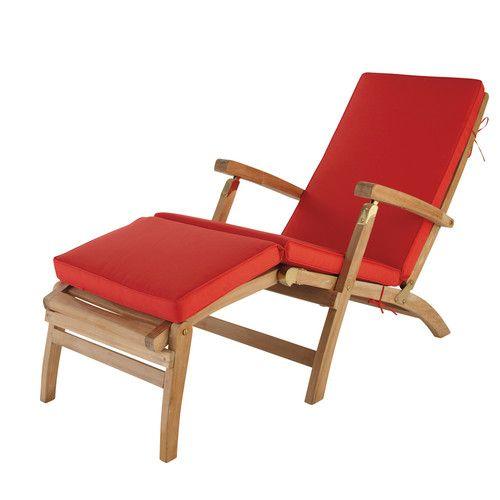 Matelas chaise longue rouge