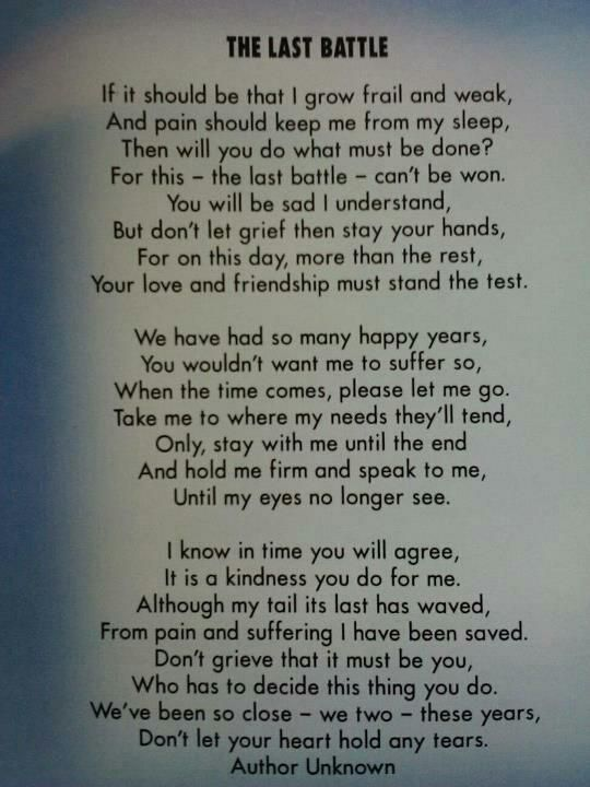 Don't even try to read this without a kleenex at the ready....you have been warned...so tough to lose a loved animal / a part of the family....