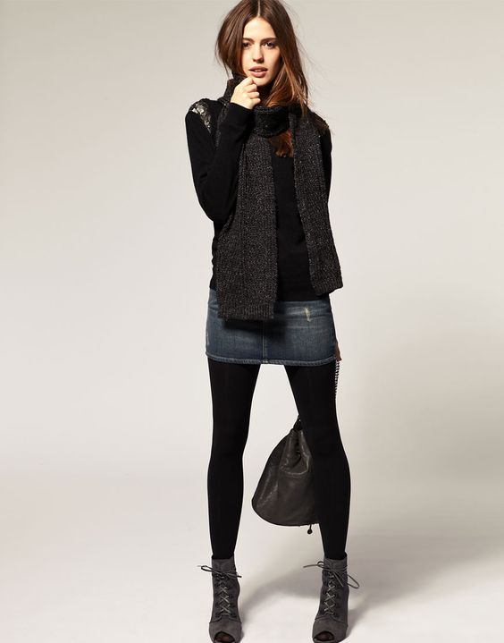 Jean skirt over tights with booties! Great idea for that too short jean skirt in my closet. | My ...