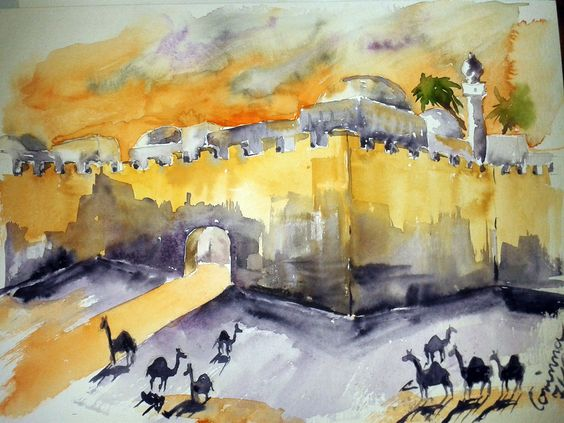 Wüstenei, Aquarell, 30 x 40
