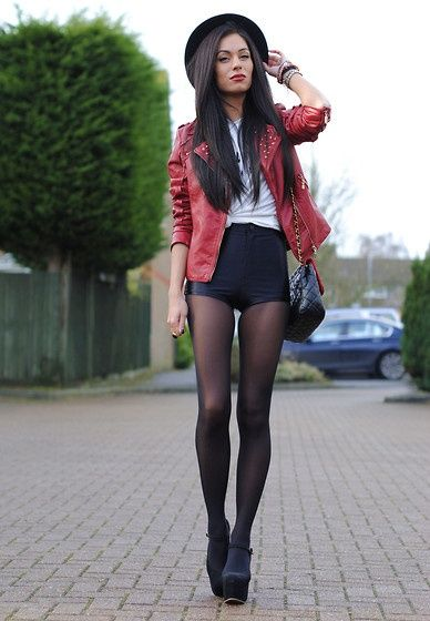 High waisted shorts and tights | Cute outfits | Pinterest ...