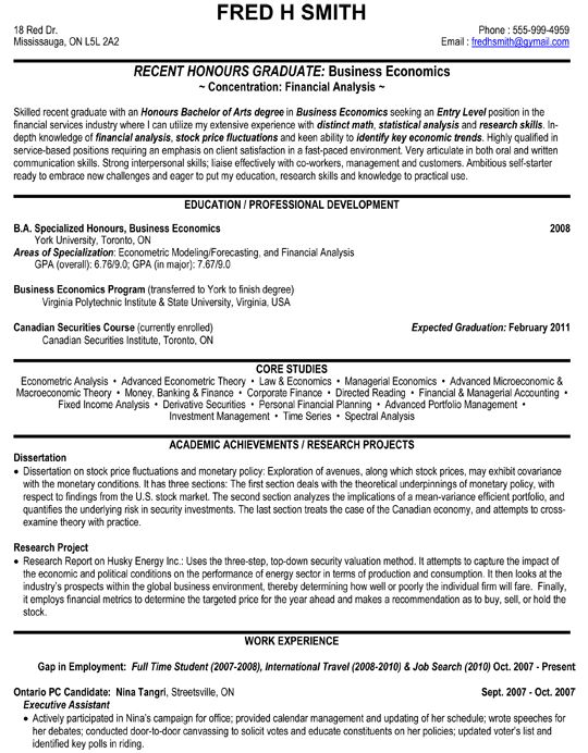 financial analyst business economics resume sample