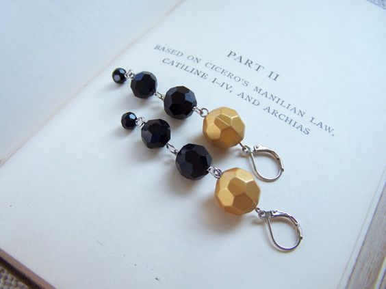 Black and Gold Dangling Leverback Earrings  Long by belleonabudget, $7.50