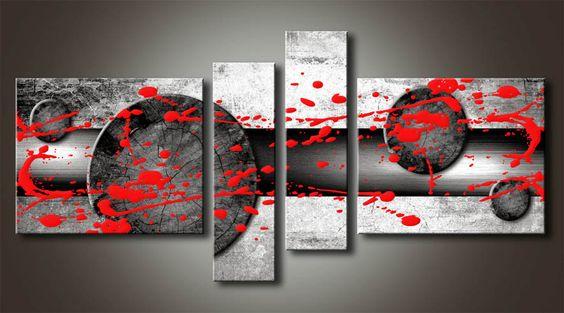 Al_MB_1 Cuadro Abstracto con Salpicadura Roja