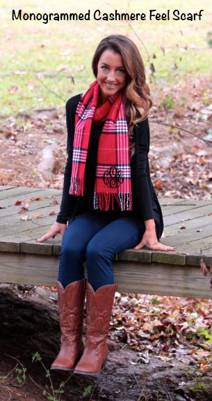 Marleylilly.com has SO many cute patterns for YOU! Monogrammed Cashmere Feel Scarf #scarf #monogram