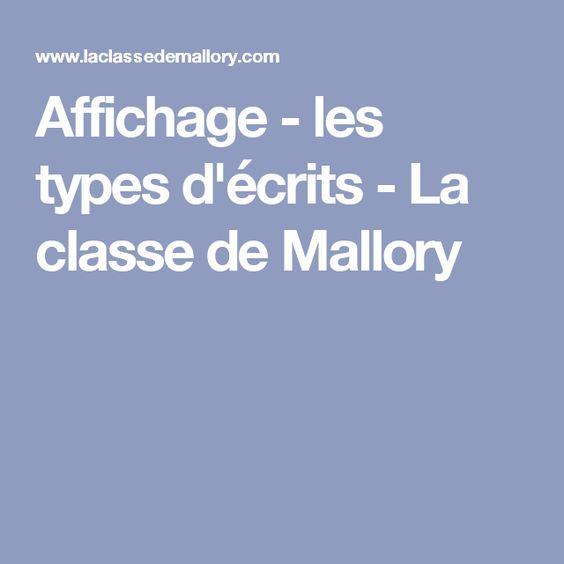 Affichage - les types d'écrits - La classe de Mallory