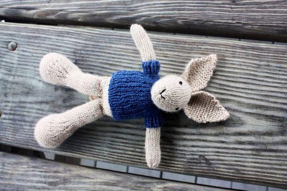 Knit Bunny Bunny Doll Bunny Stuffed Animal Plush Bunny by Knitneys