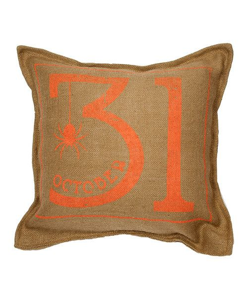 Look at this Natural 'October 31' Burlap Throw Pillow on #zulily today!