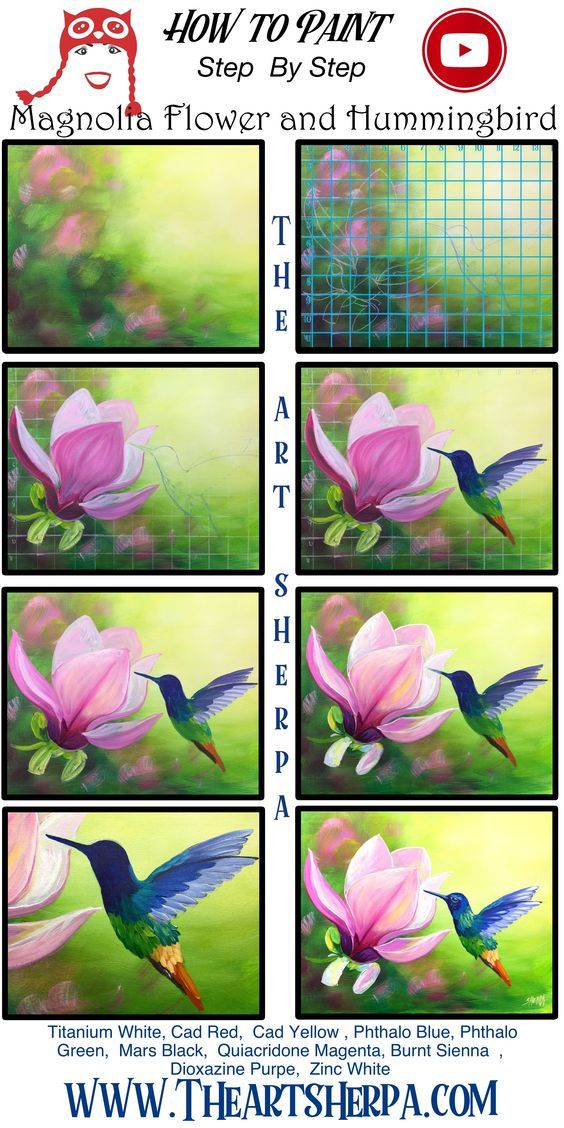 How To Paint A Magnolia Flower And Hummingbird Full Acrylic On Canvas Step By Step Free Video Lesson How To Paint A Magnolia And In 2020 The Art Sherpa Magnolia Flower