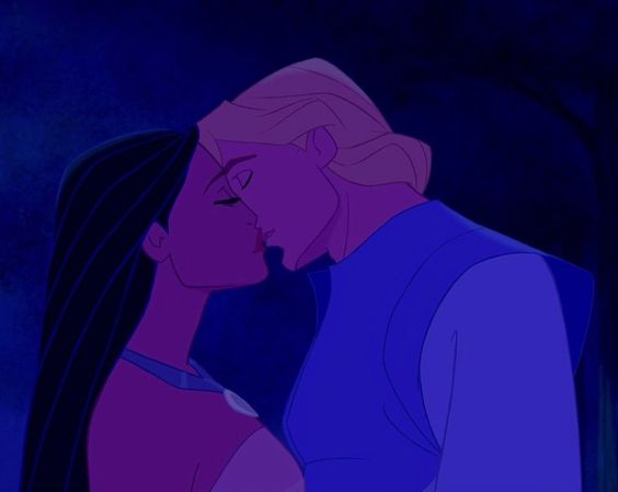 Pocahontas and John Smith kiss for the first time. It's ...  Pocahontas and ...
