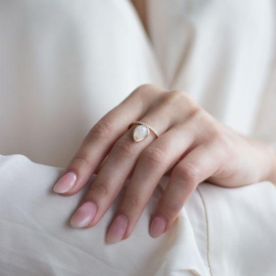 Teardrop moonstone ring | Shop Rajic