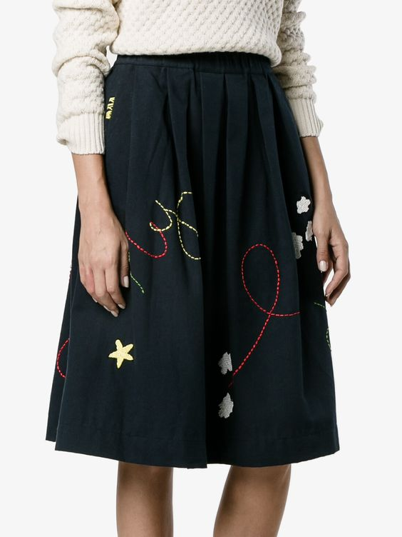 Fly Embroidered Cotton Skirt