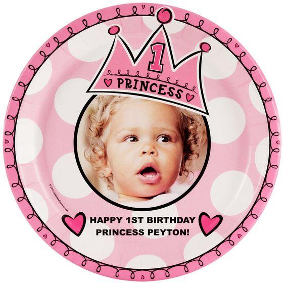 Birthday Princess 1st Personalized - Dinner Plate from BirthdayExpress.com