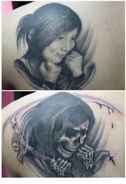 """The tattoo before and after divorce! I love that he turned """"her"""" into """"that"""" lol."""