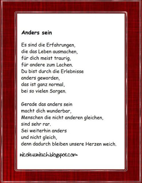 Anders Sein Gedicht Von Nicole Sunitsch Traurige