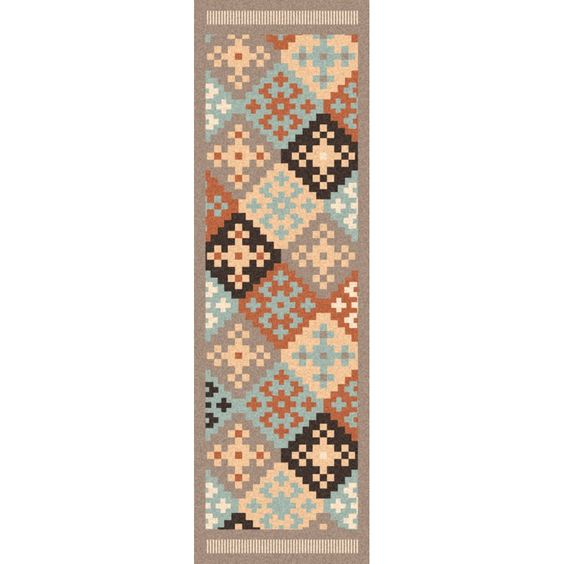 Hand-woven from luxurious hard twist wool with a flat pile, this rug makes a stylish accent. The alluring color palette and the Southwestern pattern design coalesce to make this rug the perfect anchor to your space.