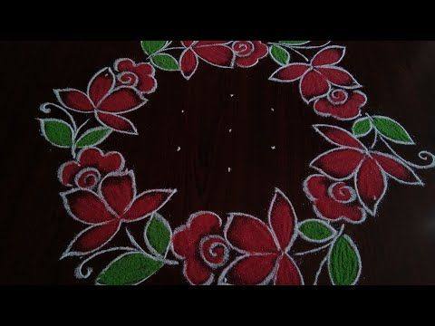 Simple And Easy Rose Flowers Rangoli 7 4 Dot S Youtube In 2020 Simple Rose Rangoli Designs With Dots Rose Flower