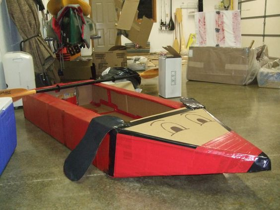 Built A Boat From Cardboard And Duct Tape