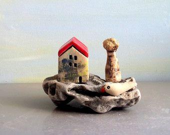 Tiny rustic ceramic beach houses on driftwood Ceramic by ednapio