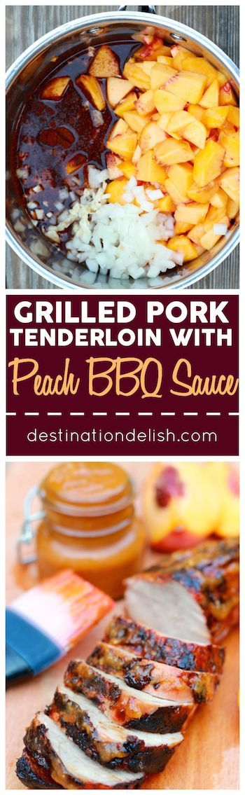 Grilled Pork Tenderloin with Peach BBQ Sauce - Tender pork grilled to perfection and served with a side of tangy and sweet peach BBQ sauce.