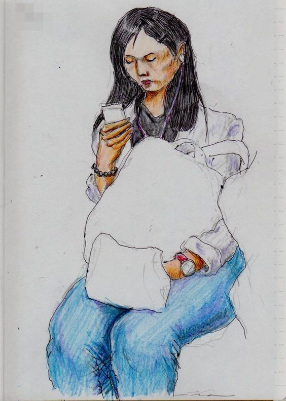 白いシャツのお姉さん(通勤電車でスケッチ)This is a woman of sketch wearing a white shirt. It drew in a commuter train.