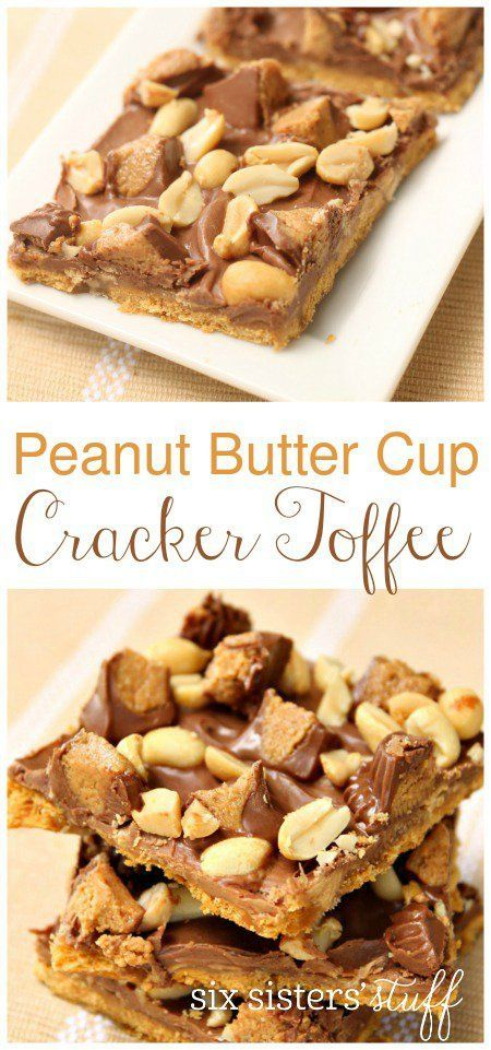 Peanut Butter Cup Cracker Toffee from SixSistersStuff.com | This peanut butter chocolate dessert is absolutely divine!  This recipe comes together in about 20 minutes and is very addicting.