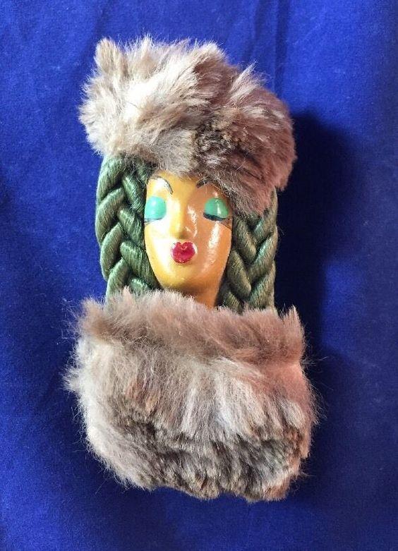 Beautiful Vintage Elzac Victim Of Fashion Lady Face With Braid And Fur Brooch  | eBay