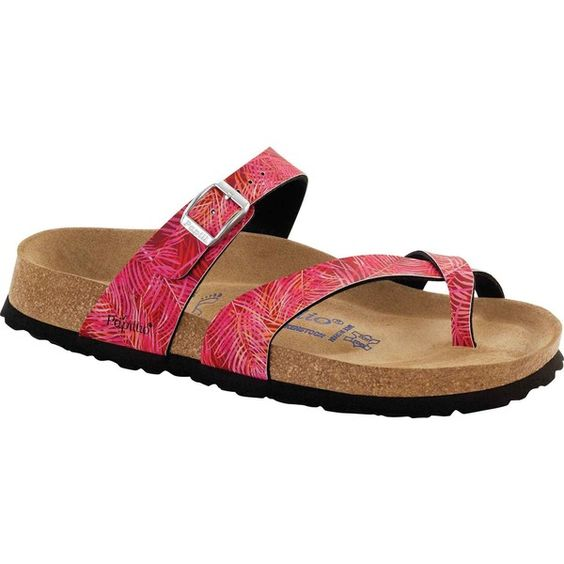 Birkenstock Women's Papillio Tabora Soft Footbed Tropical Leaf Pink... ($105) ❤ liked on Polyvore featuring shoes, sandals, pink, slide sandals, pink sandals, long shoes, pink shoes and shock absorbing shoes