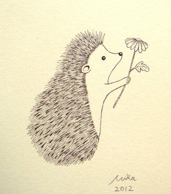 Original Ink Drawing Print Ivory Cute Hedgehog Flower Woodland Illustration. $7.99, via Etsy.