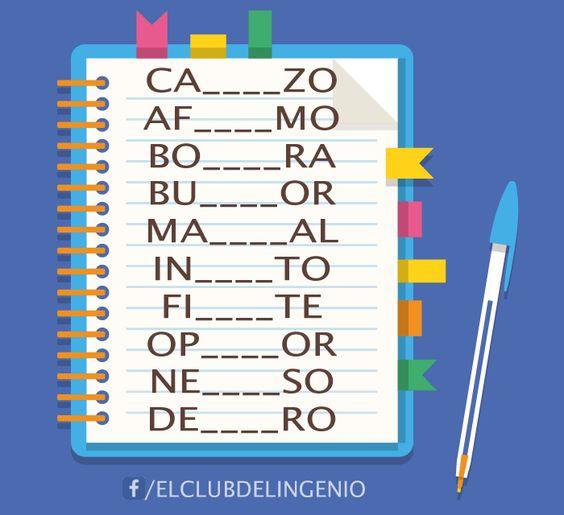 La consigna es encontrar las letras que faltan y completar las palabras. Este juego mejorará tu agilidad mental