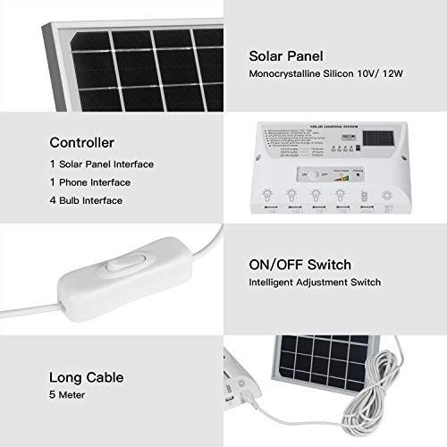 Yinghao Upgraded 12w Solar Panel With 4 Bulbs Solar Led Lighting System Phone Charger With In 2020 Led Lighting System Solar Lighting System Solar Panel Lights