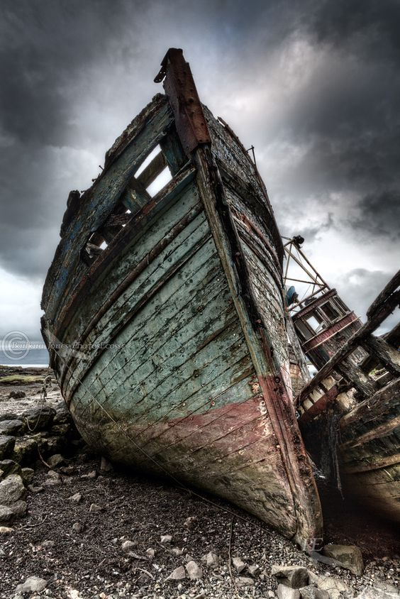 Abandoned Boats. Salen. Isle of Mull. Inner Hebrides. Scotland.: