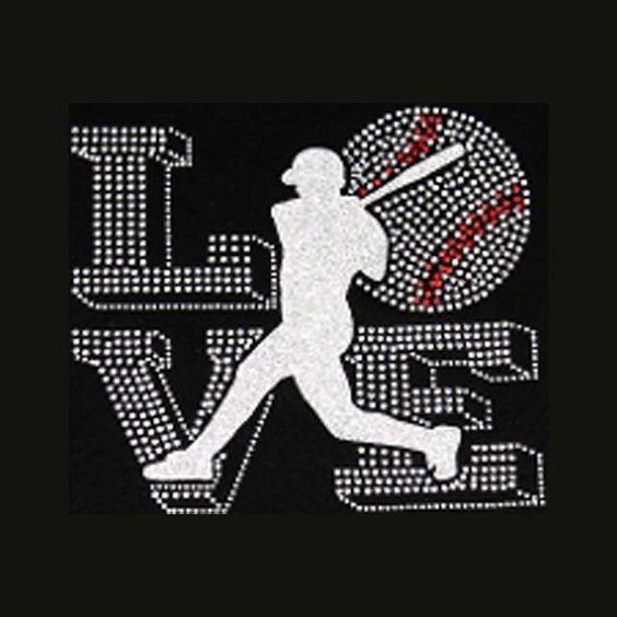 Love Baseball 6.5x7.5 Baseball Rhinestone Bling by BlingByBates