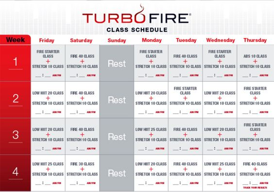 turbo fire pre workout schedule