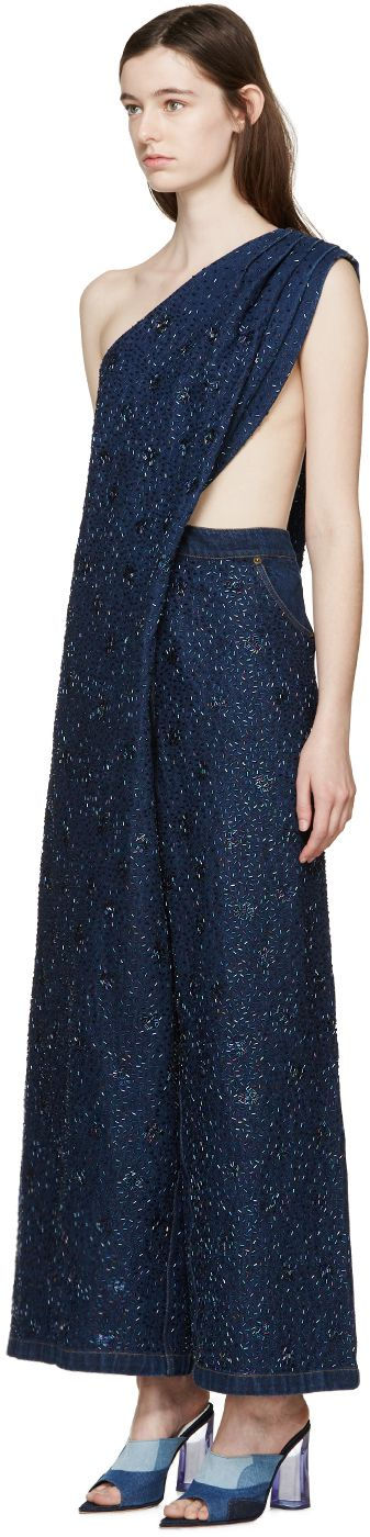 Ashish: Indigo Denim Beaded Jumpsuit | SSENSE