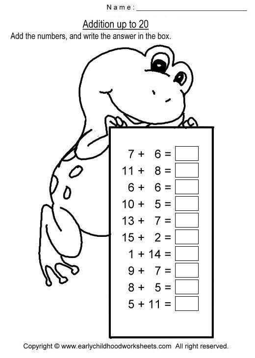 Addition Up To 20 Worksheets Kindergarten Math Worksheets Addition Kids Math Worksheets Math Addition Worksheets Addition worksheets up to 20