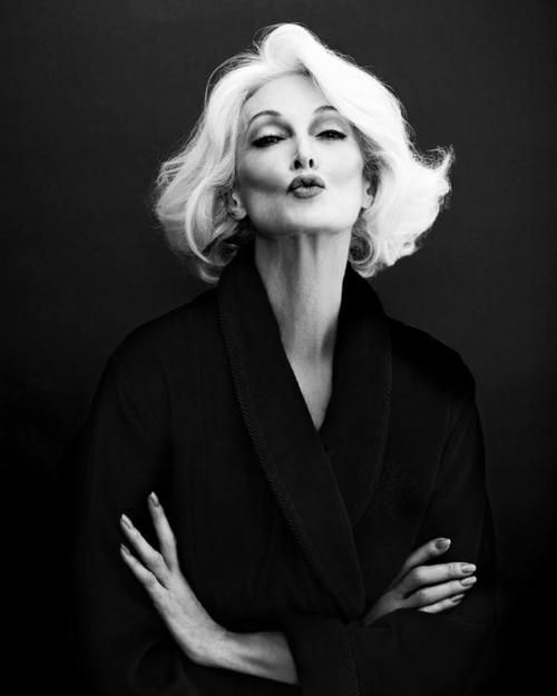 Carmen Dell'Orefice (born June 3, 1931) is 80 years old right now. She is the oldest model in the world modeling for the last 66 years, placing herself in the Guinness Book of World Records. Kudos to this beautiful woman!