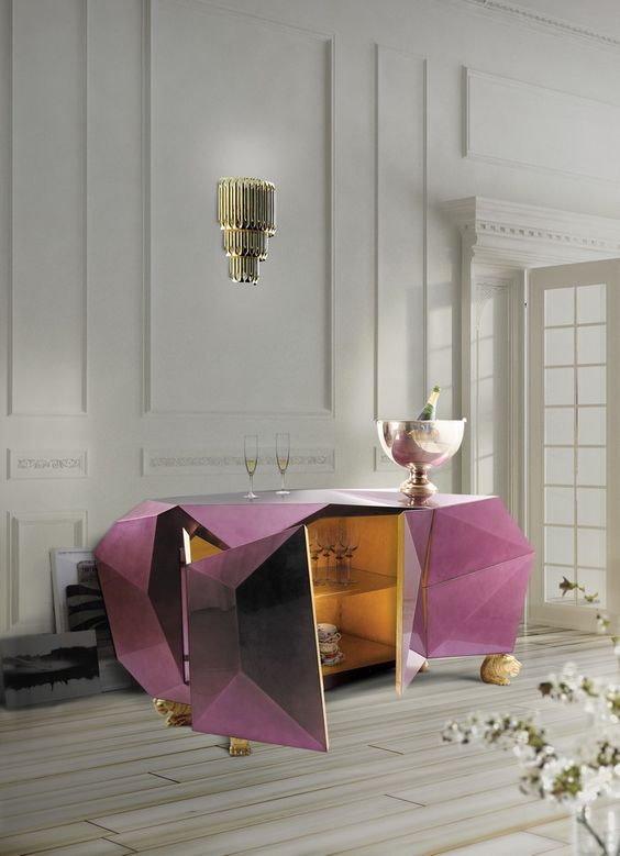 Golden leaf Diamond Amethyst Sideboard by Boca do Lobo | www.bocadolobo.com