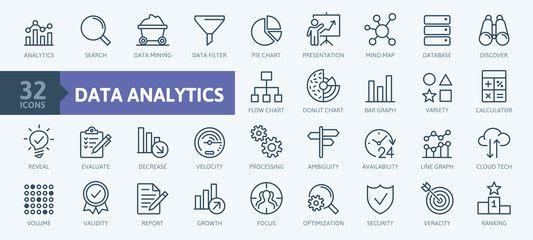 Data Analysis Statistics Analytics Minimal Thin Line Web Icon