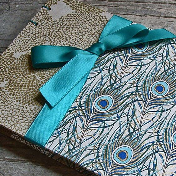 Extra Small Wedding Guest Book, Posh Peacock, XS 7x5, MADE upon ORDER