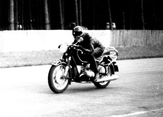 Anke Eve Goldmann on her BMW R69, 1961, on the old high speed track of Hockenheim race circuit