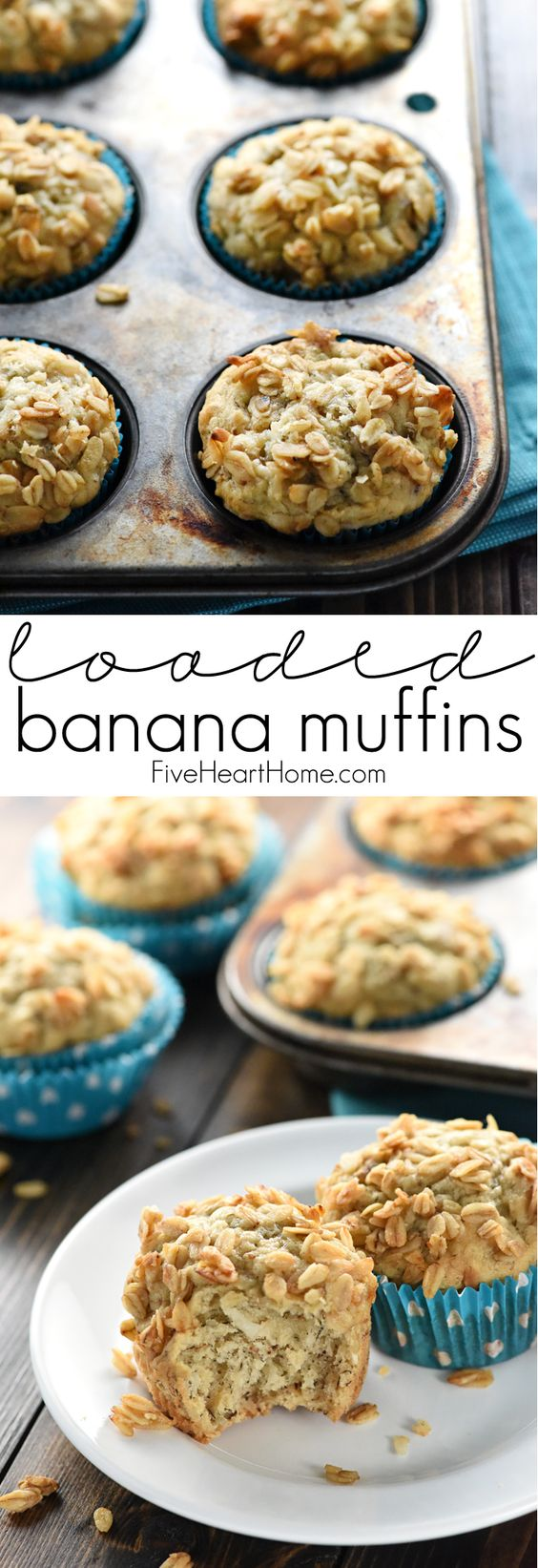 Loaded Banana Muffins ~ a moist, soft banana bread base gets extra flavor and texture from coconut, toasted pecans, and honey-kissed granola sprinkled on top! | FiveHeartHome.com